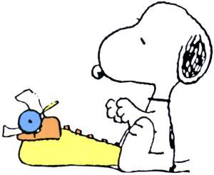 snoopy writing 2